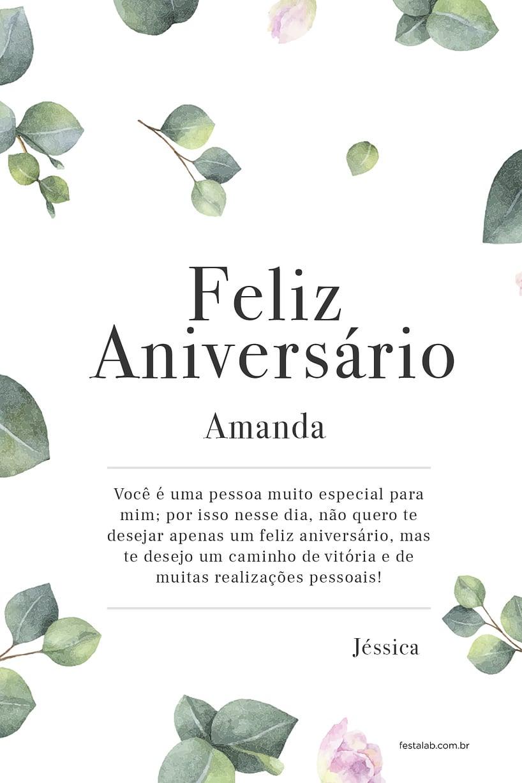 Cartao de Aniversario Adulto - Folhas Claro