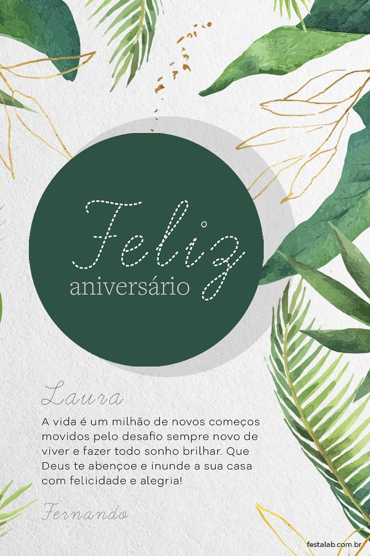 Cartao de Aniversario Adulto - Folhas Verde