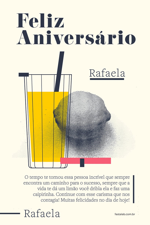 Cartao de Aniversario Adulto - Limao