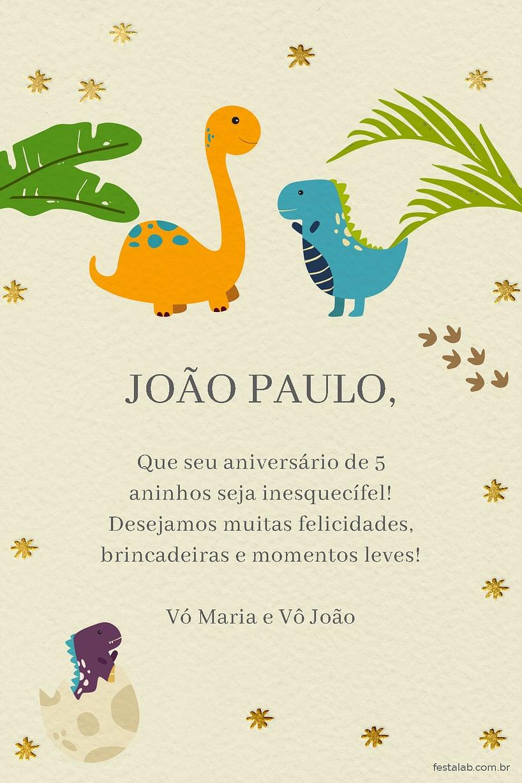 Cartao de Aniversario - Dinossauros