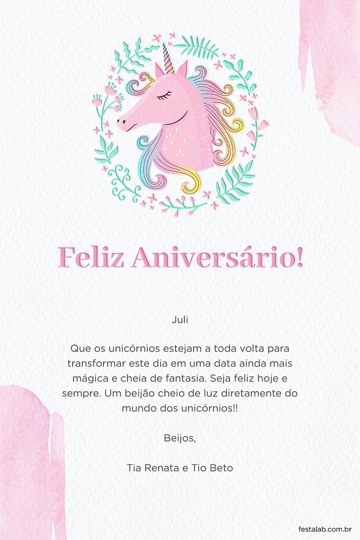Cartao de Aniversario - Unicornio Primavera