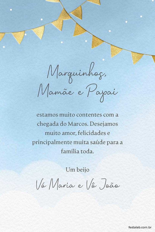 Cartao de Cha de bebe - Bandeirinhas Azul