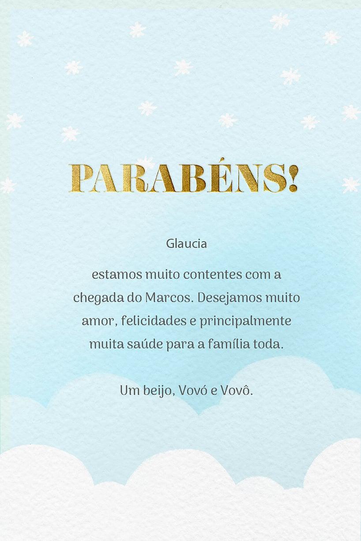 Cartao de Cha de bebe - Nuvens Azul