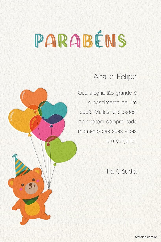 Cartao de Cha de bebe - Ursinho Baloes