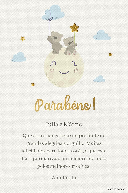 Cartao de Cha de bebe - Ursinho Lua