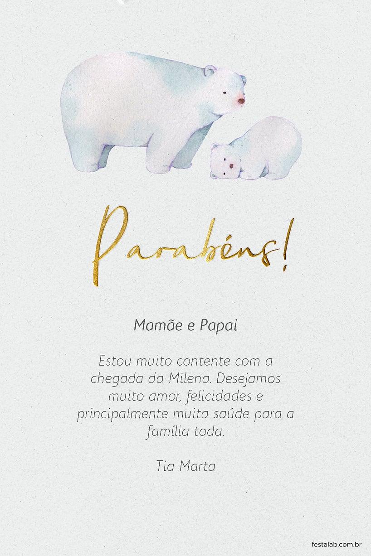 Cartao de Cha de bebe - Urso Polar