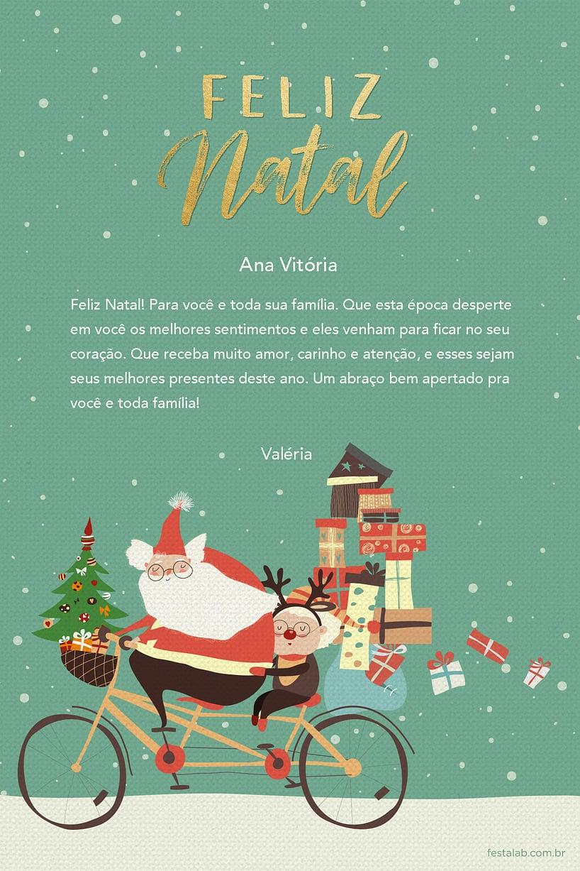 Cartao de Ocasioes especiais - Papai Noel Ciclista