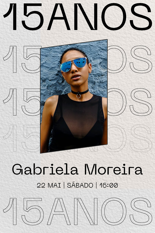 Convite de Aniversario de 15 anos - 15 Anos Moderno