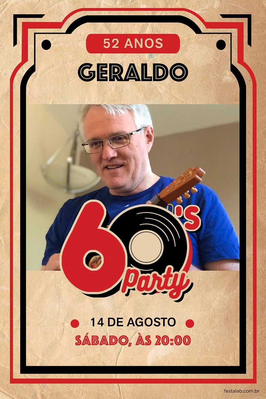 Convite de Aniversario Adulto - anos 60