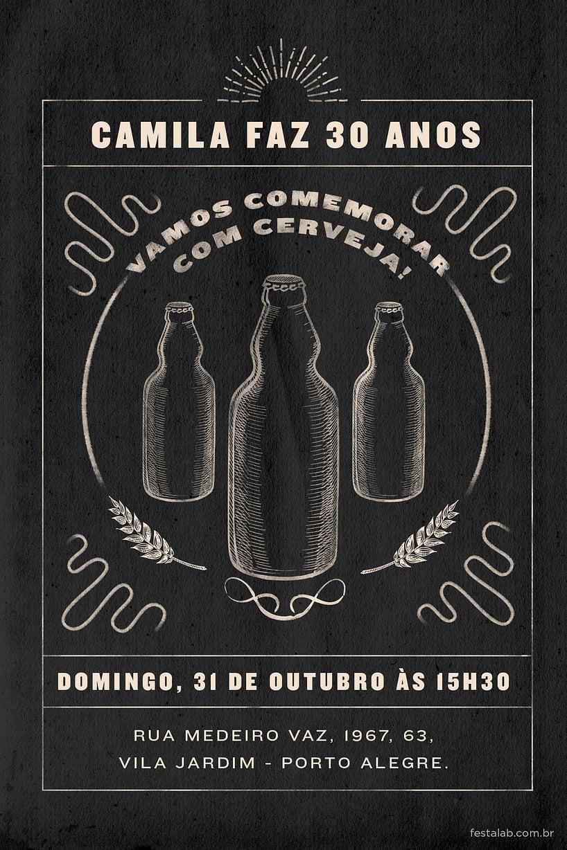 Convite de Aniversario Adulto - Cerveja no bar