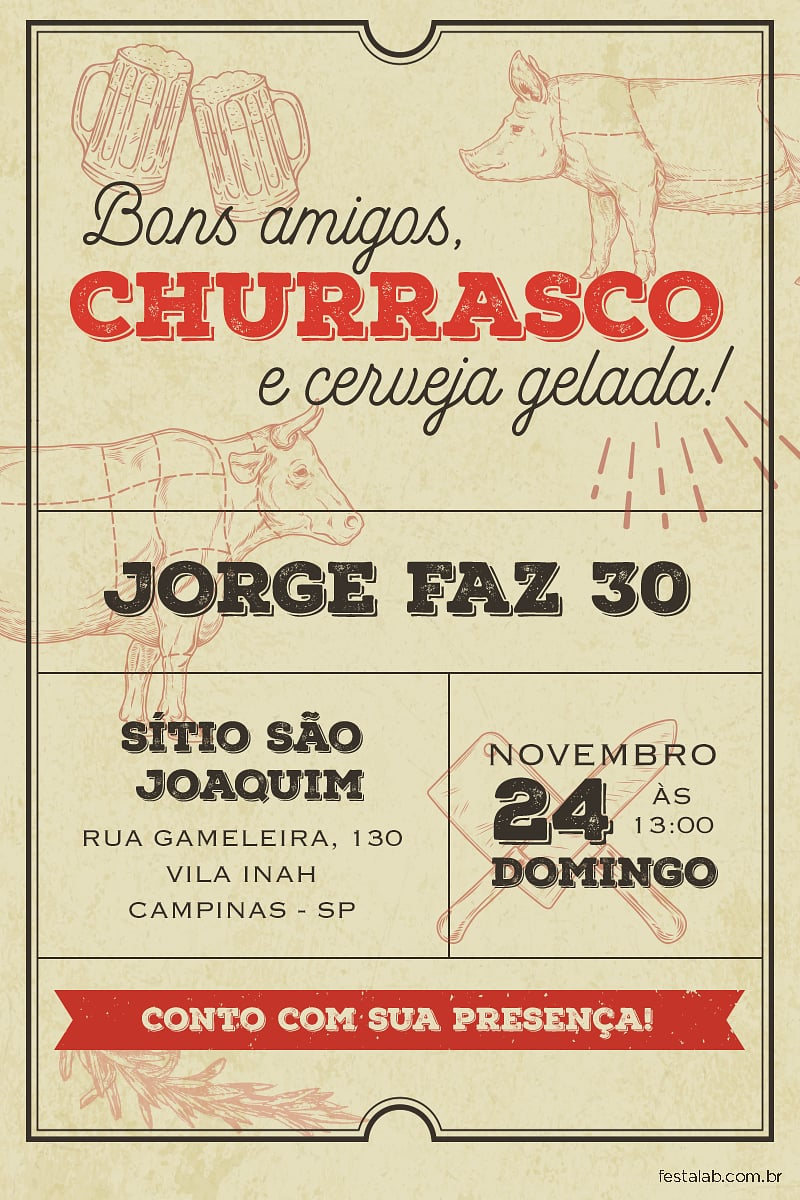 Convite de Aniversario - Churrasco