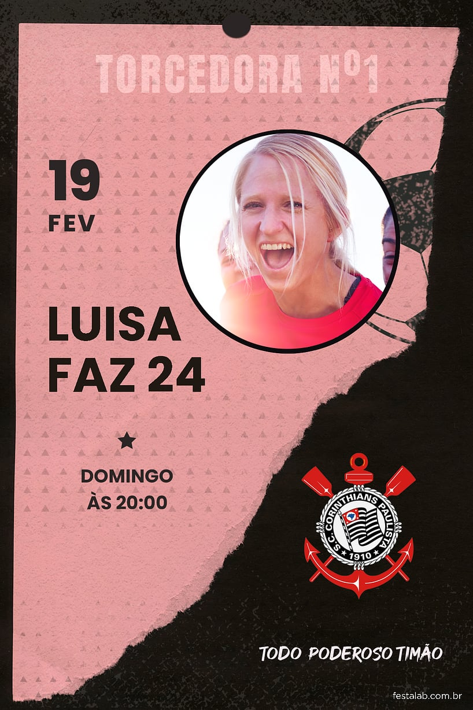 Convite de Aniversario Adulto - Futebol Corinthians Rosa Paper