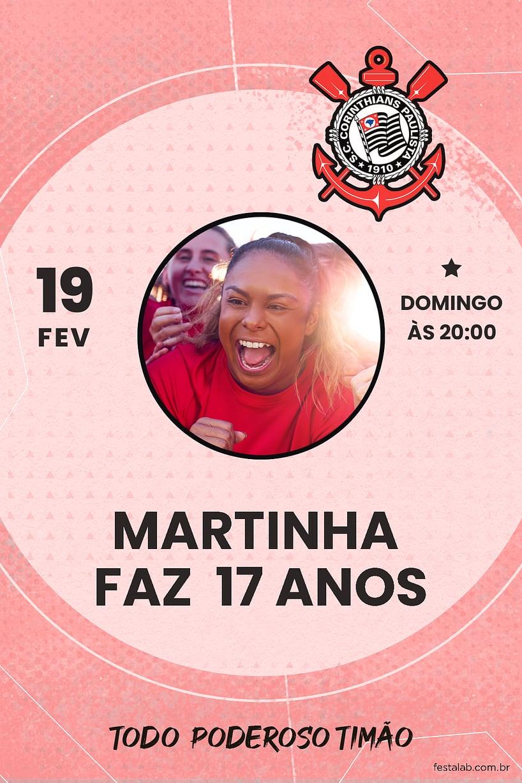 Criar convite de aniversário - Futebol Corinthians Rosa  FestaLab