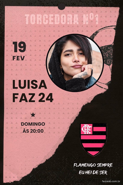 Convite de Aniversario Adulto - Futebol Flamengo Rosa Paper