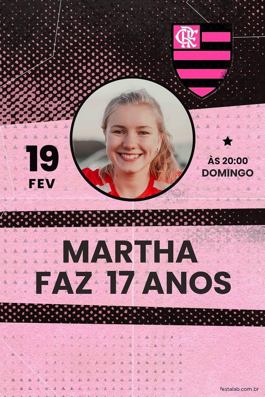 Criar convite de aniversário - Futebol Flamengo Rosa| FestaLab