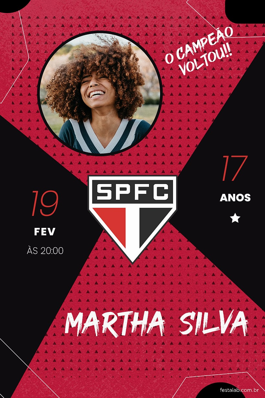 Criar convite de aniversário - Futebol SãoPauloFC| FestaLab
