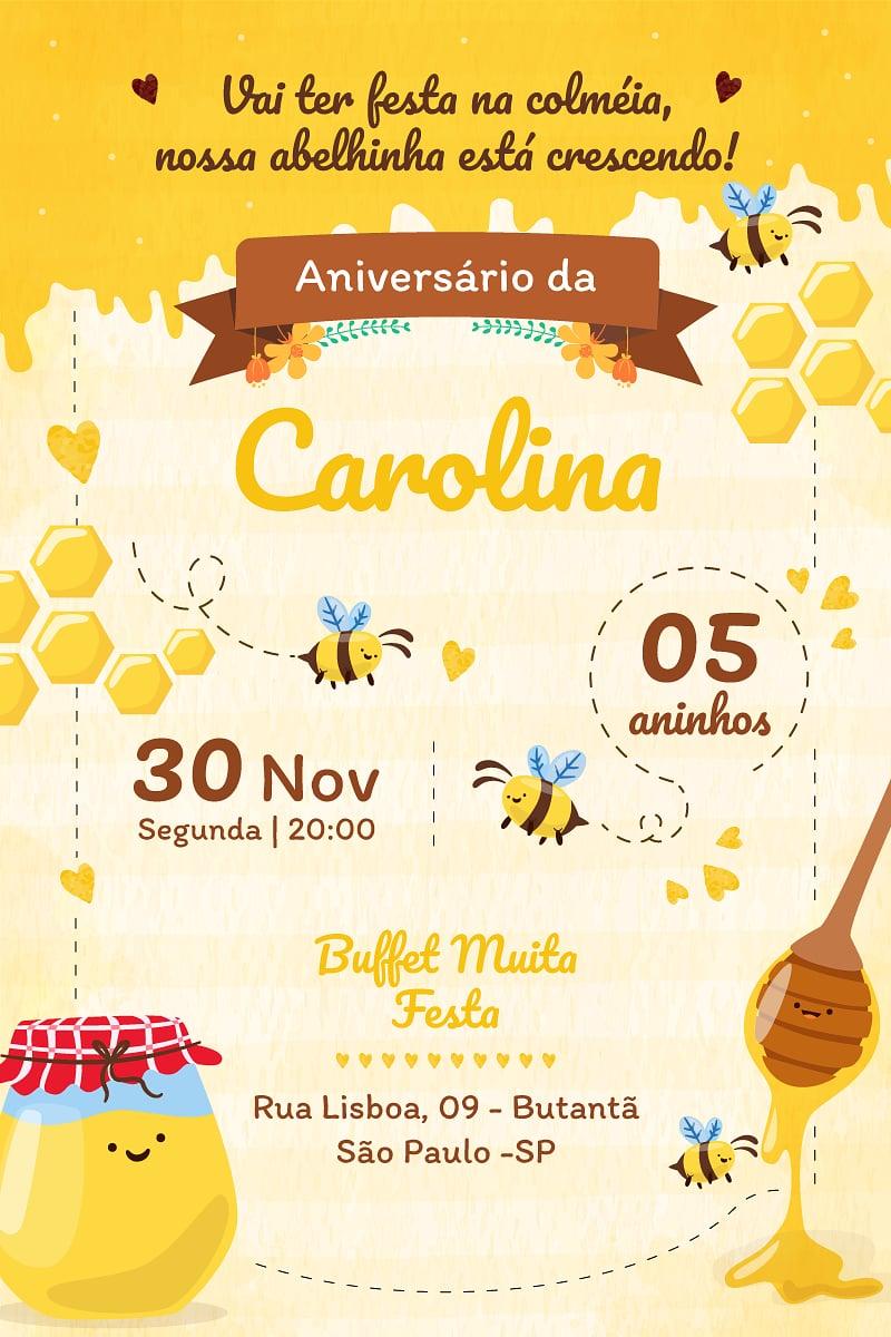 Convite de Aniversario - Abelhinha