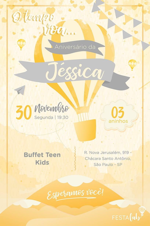 Convite de Aniversario - Balao Amarelo
