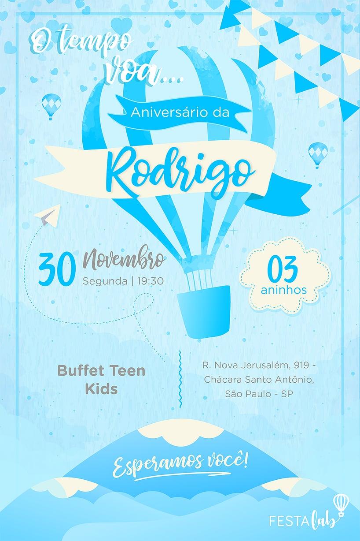 Convite de Aniversario - Balao Azul