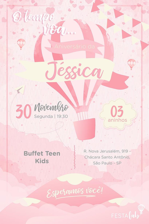 Criar convite de aniversário - Balão Rosa| Festalab