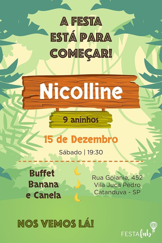 Convite de aniversario - Banana Canela