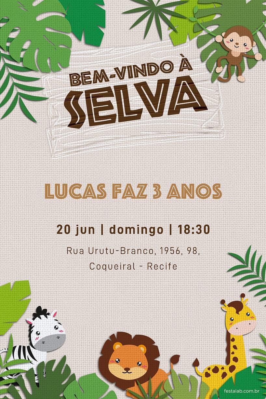 Criar convite de aniversário - Bem Vindo a Selva| Festalab