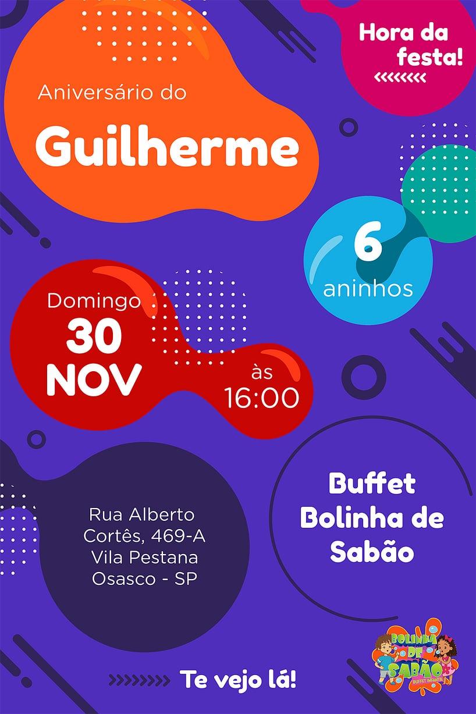 Convite de aniversario - Bolinha de Sabao