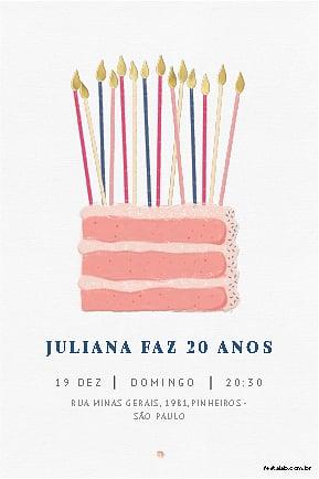 Convite de Aniversario - Bolo de aniversario
