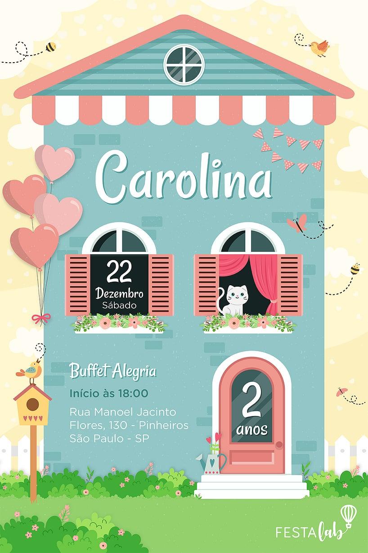 Criar convite de aniversário - Casa de Bonecas| Festalab