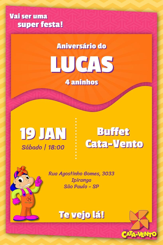 Convite de Aniversario - Cata-Vento