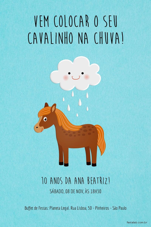 Convite de Aniversario - Cavalinho na Chuva