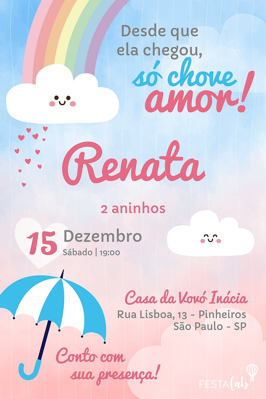 Convite de Aniversario - Chuva de Amor