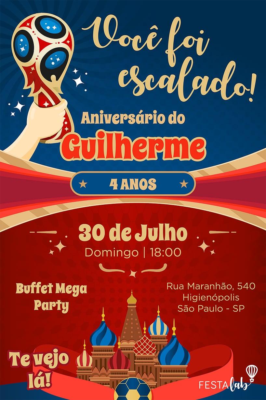 Convite de Aniversario - Copa do Mundo - Russia