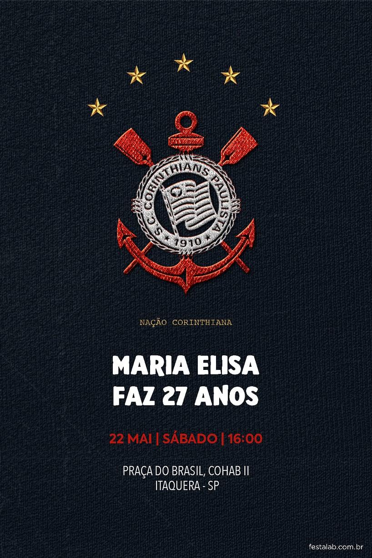 Criar convite de aniversário - Corinthians camisa| FestaLab