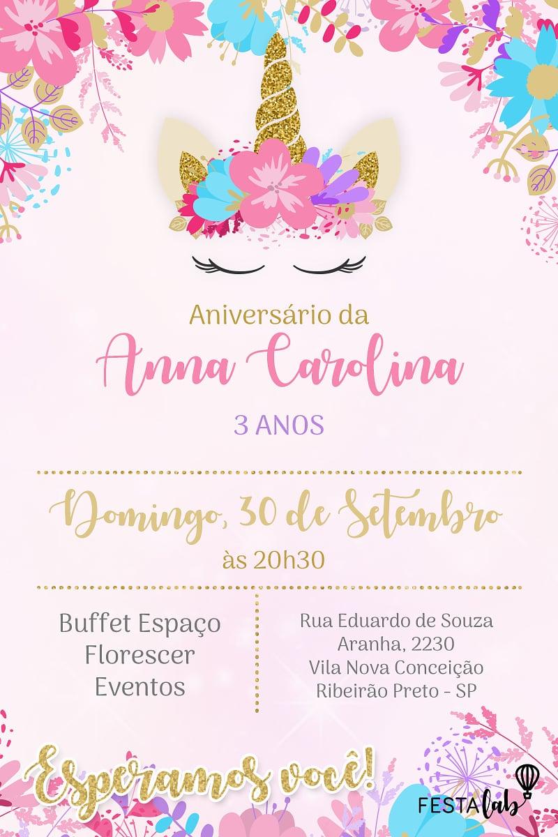 Convite de Aniversario - Coroa de Unicornio