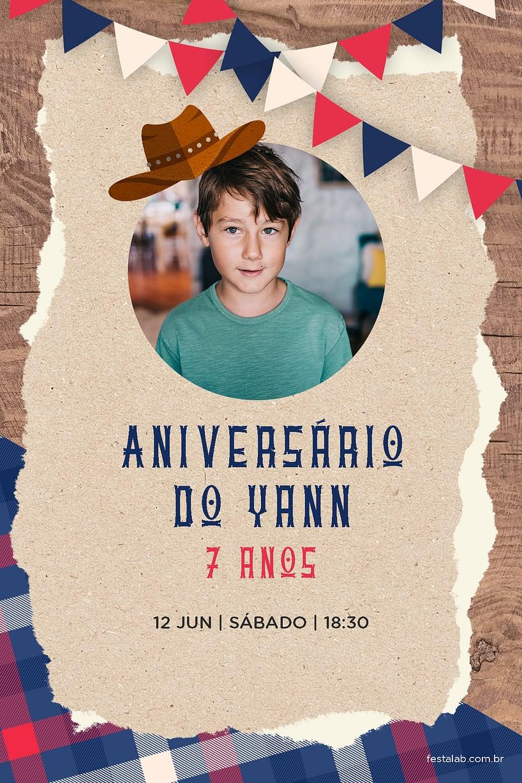 Criar convite de aniversário - Cowboy| FestaLab