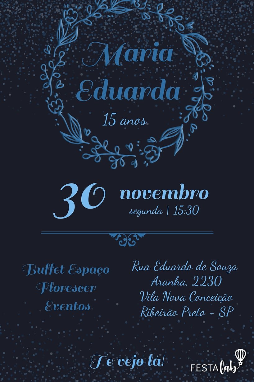 Criar convite de aniversário - Debutante - Coroa de Louros| Festalab