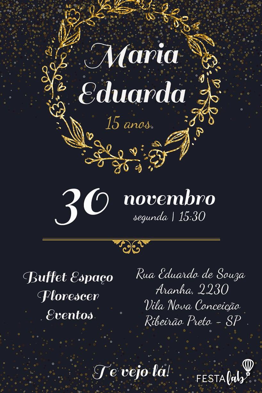 Convite de Aniversario - Debutante - Coroa de Louros