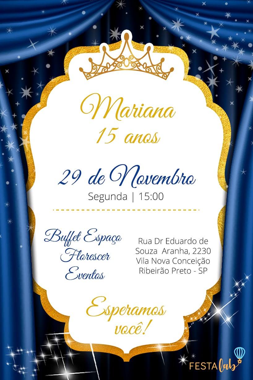 Convite de Aniversario - Debutante - Realeza