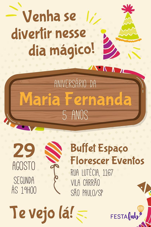 Criar convite de aniversário - Dia Mágico| FestaLab