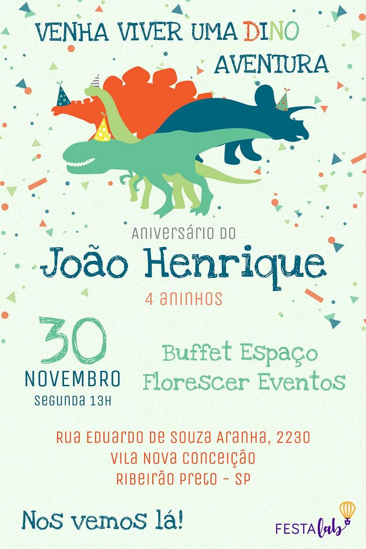 Convite de aniversario - Dinossauros