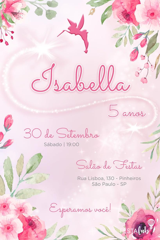 Convite de Aniversario - Fada