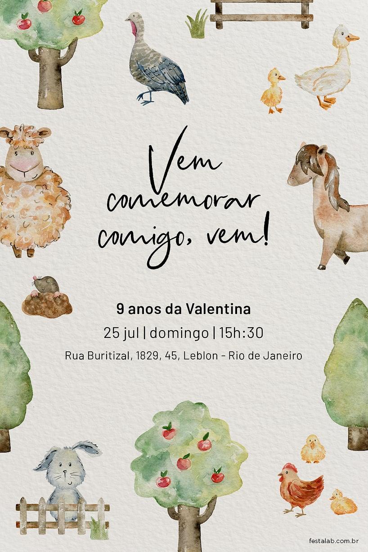 Convite de Aniversario - Fazendinha com Animais