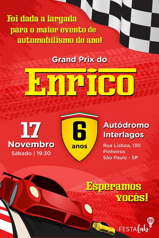 Criar convite de aniversário - Ferrari| Festalab