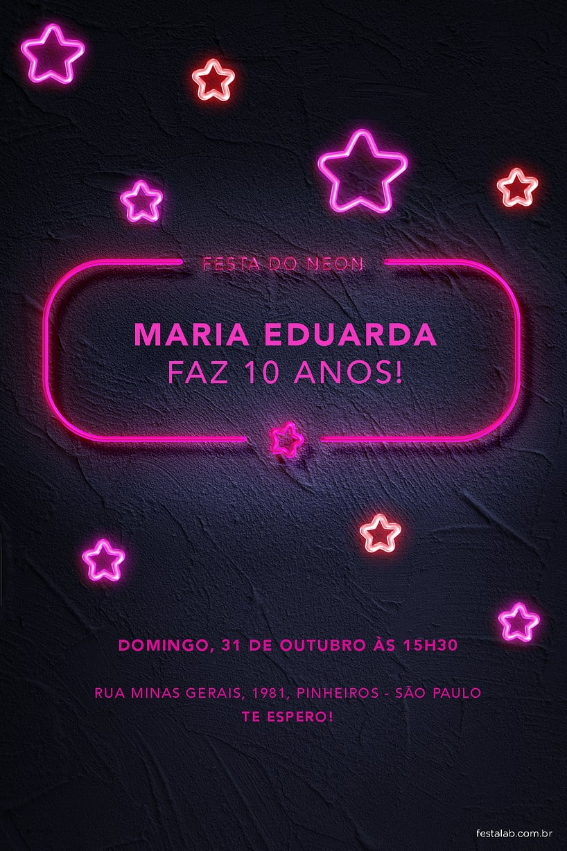 Convite de Aniversario - Festa do Neon