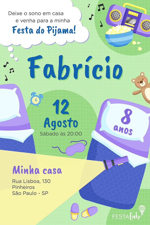 Convite de Aniversario - Festa do Pijama