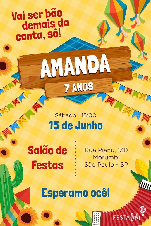 Convite de Aniversario - Festa Junina
