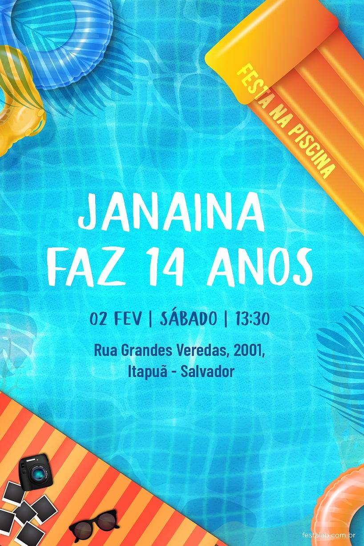 Convite de Aniversario - Festa na piscina