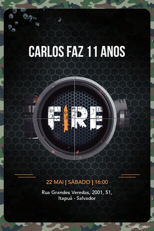 Convite de Aniversario - Fire