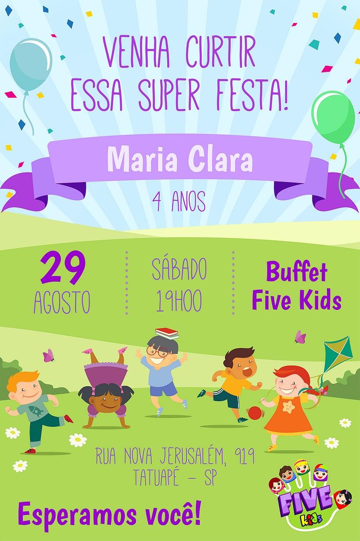 Convite de Aniversario - Five Kids - Menina